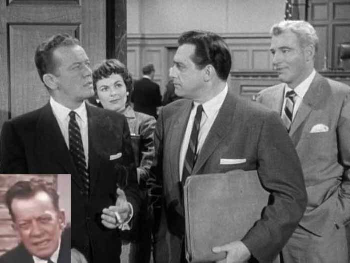 WILLIAM TALMAN, BARBARA HALE, RAYMOND BURR, WILLIAM HOPPER IN CASE OF THE LAZY LOVER