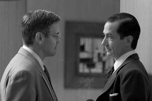 George Clooney as Fred Friendly and David Strathairn as Edward R. Murrow