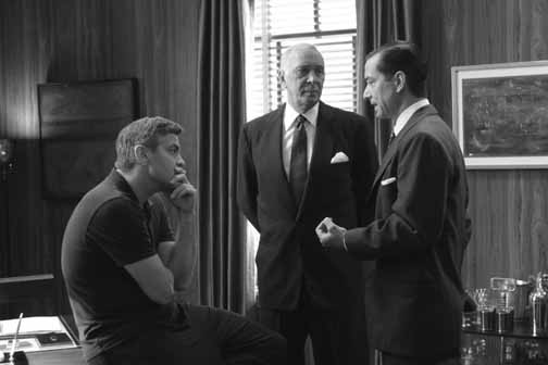 Director George Clooney on the set of Good Night, And Good Luck. with Frank Langella and David Strathairn